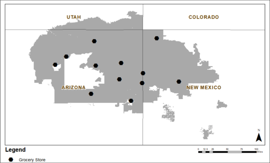 map of grocery stores on Navajo Nation